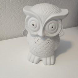 Lampe porcelaine hibou blanc 16 X 11.5 X H.21 CM